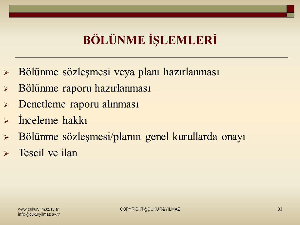 www.cukuryilmaz.av.tr info@cukuryilmaz.av.tr COPYRIGHT@ÇUKUR&YILMAZ33 BÖLÜNME İŞLEMLERİ  Bölünme sözleşmesi veya planı hazırlanması  Bölünme raporu
