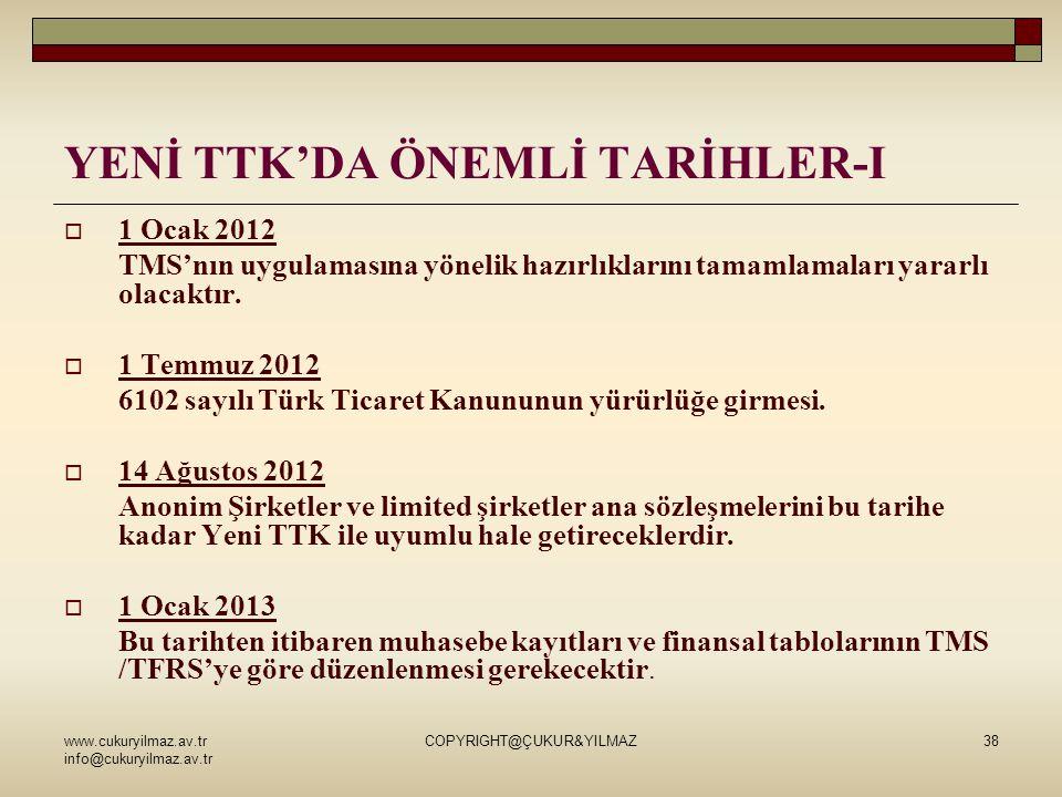 www.cukuryilmaz.av.tr info@cukuryilmaz.av.tr COPYRIGHT@ÇUKUR&YILMAZ38 YENİ TTK'DA ÖNEMLİ TARİHLER-I  1 Ocak 2012 TMS'nın uygulamasına yönelik hazırlı