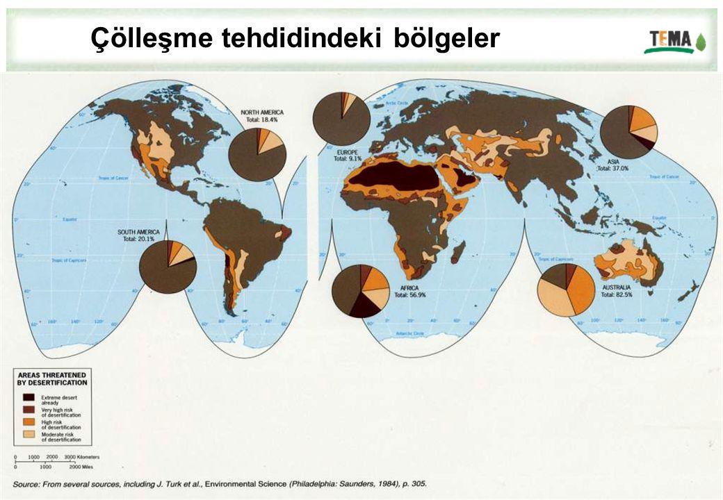 Çölleşme tehdidindeki bölgeler