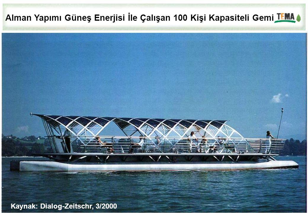 Kaynak: Dialog-Zeitschr, 3/2000 Alman Yapımı Güneş Enerjisi İle Çalışan 100 Kişi Kapasiteli Gemi