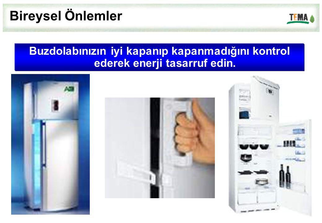 Buzdolabınızın iyi kapanıp kapanmadığını kontrol ederek enerji tasarruf edin. Bireysel Önlemler