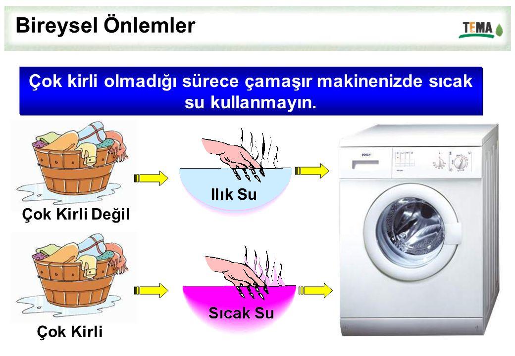 Çok kirli olmadığı sürece çamaşır makinenizde sıcak su kullanmayın. Çok Kirli Değil Çok Kirli Ilık Su