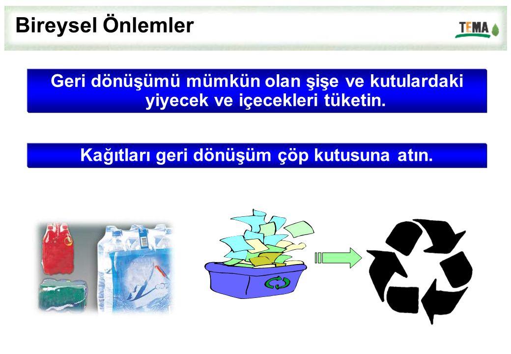 Geri dönüşümü mümkün olan şişe ve kutulardaki yiyecek ve içecekleri tüketin. Bireysel Önlemler Kağıtları geri dönüşüm çöp kutusuna atın.