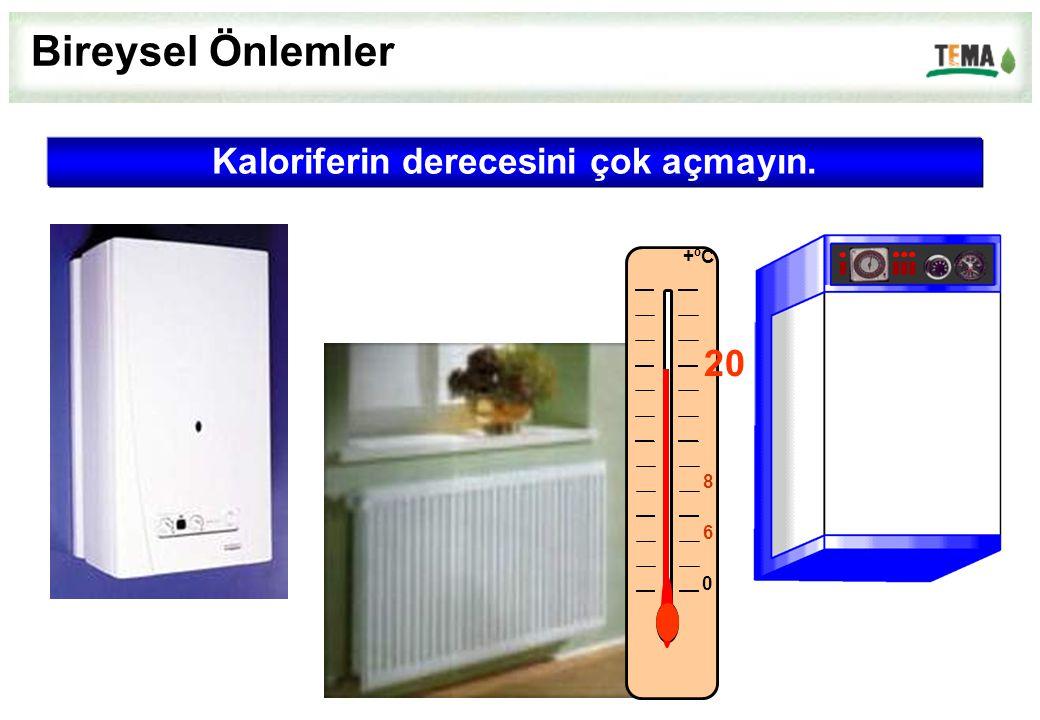 Kaloriferin derecesini çok açmayın. 0 6 8 +ºC 20 Bireysel Önlemler