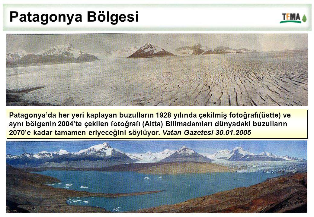 Patagonya'da her yeri kaplayan buzulların 1928 yılında çekilmiş fotoğrafı(üstte) ve aynı bölgenin 2004'te çekilen fotoğrafı (Altta) Bilimadamları düny