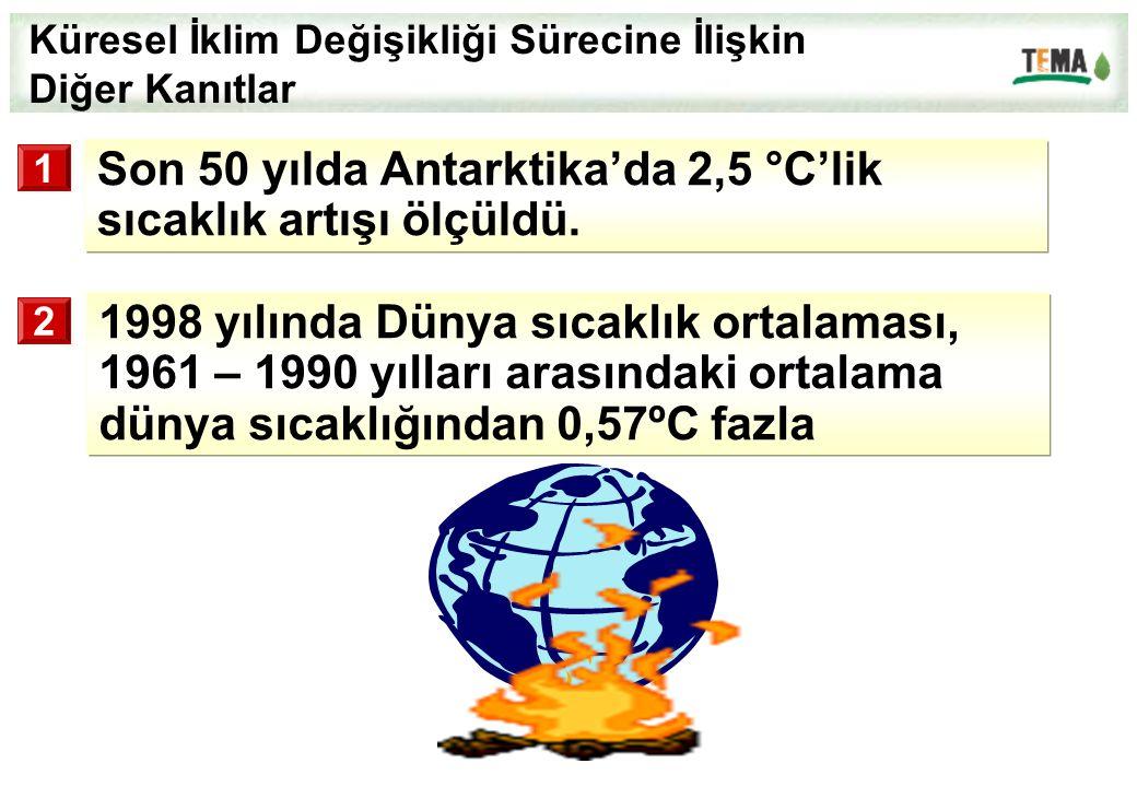 Küresel İklim Değişikliği Sürecine İlişkin Diğer Kanıtlar 1998 yılında Dünya sıcaklık ortalaması, 1961 – 1990 yılları arasındaki ortalama dünya sıcakl
