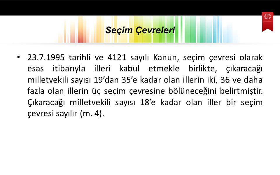 Seçim Çevreleri 23.7.1995 tarihli ve 4121 sayılı Kanun, seçim çevresi olarak esas itibarıyla illeri kabul etmekle birlikte, çıkaracağı milletvekili sa