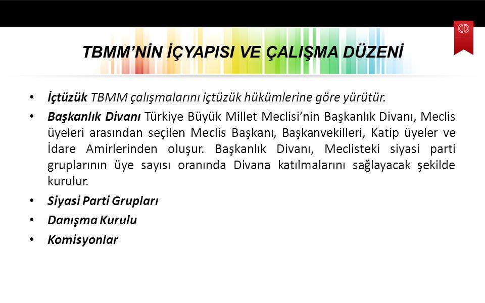 TBMM'NİN İÇYAPISI VE ÇALIŞMA DÜZENİ İçtüzük TBMM çalışmalarını içtüzük hükümlerine göre yürütür. Başkanlık Divanı Türkiye Büyük Millet Meclisi'nin Baş