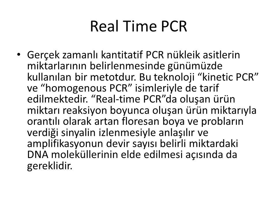 """Real Time PCR Gerçek zamanlı kantitatif PCR nükleik asitlerin miktarlarının belirlenmesinde günümüzde kullanılan bir metotdur. Bu teknoloji """"kinetic P"""