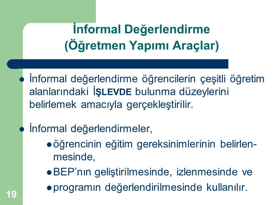 19 İnformal Değerlendirme (Öğretmen Yapımı Araçlar) İnformal değerlendirme öğrencilerin çeşitli öğretim alanlarındaki İ ŞLEVDE bulunma düzeylerini bel