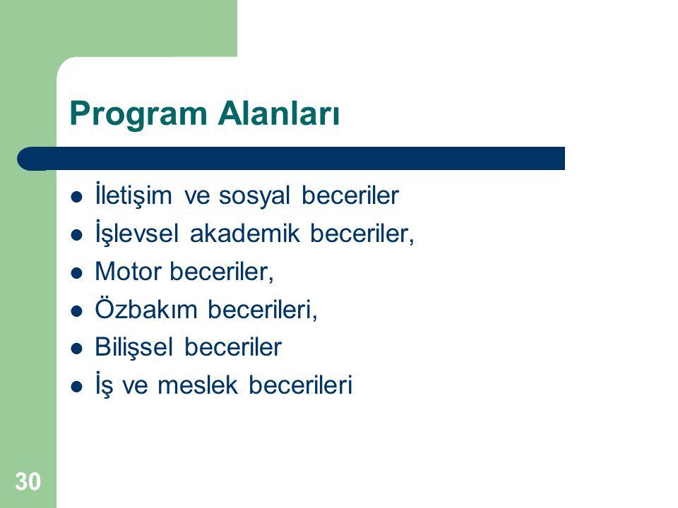 30 Program Alanları İletişim ve sosyal beceriler İşlevsel akademik beceriler, Motor beceriler, Özbakım becerileri, Bilişsel beceriler İş ve meslek bec