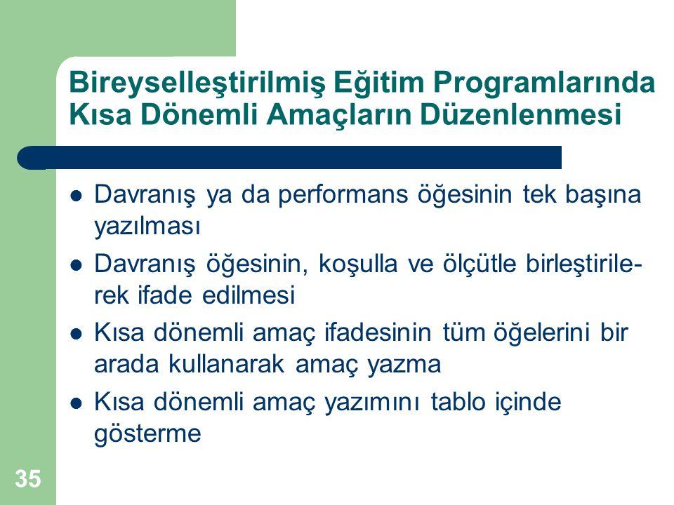 35 Bireyselleştirilmiş Eğitim Programlarında Kısa Dönemli Amaçların Düzenlenmesi Davranış ya da performans öğesinin tek başına yazılması Davranış öğes