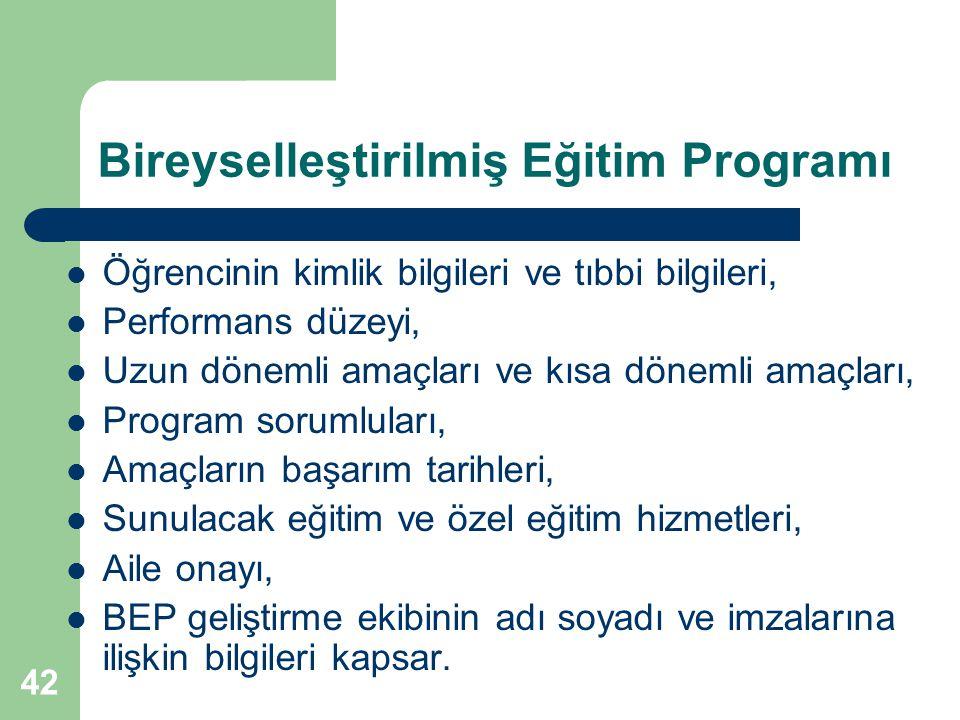 42 Bireyselleştirilmiş Eğitim Programı Öğrencinin kimlik bilgileri ve tıbbi bilgileri, Performans düzeyi, Uzun dönemli amaçları ve kısa dönemli amaçla