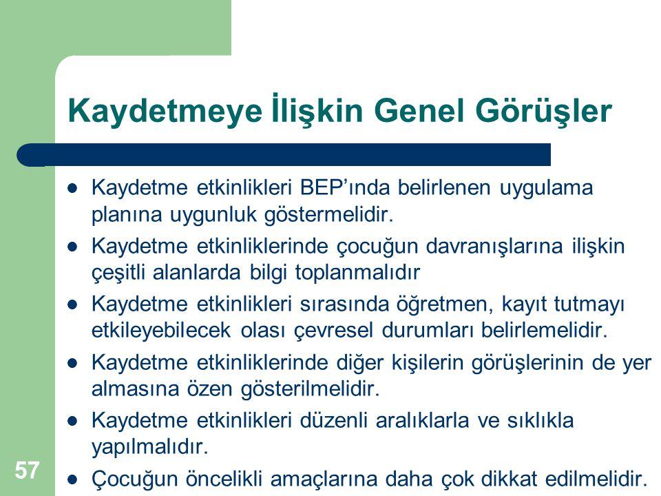 57 Kaydetmeye İlişkin Genel Görüşler Kaydetme etkinlikleri BEP'ında belirlenen uygulama planına uygunluk göstermelidir. Kaydetme etkinliklerinde çocuğ