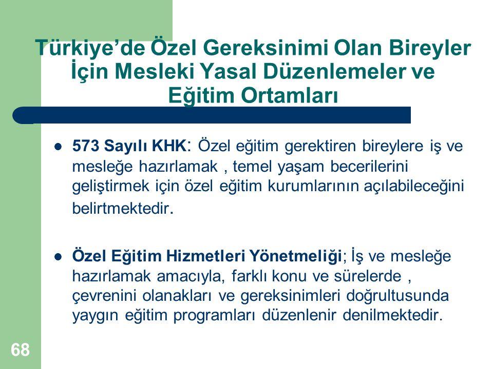 68 Türkiye'de Özel Gereksinimi Olan Bireyler İçin Mesleki Yasal Düzenlemeler ve Eğitim Ortamları 573 Sayılı KHK : Özel eğitim gerektiren bireylere iş