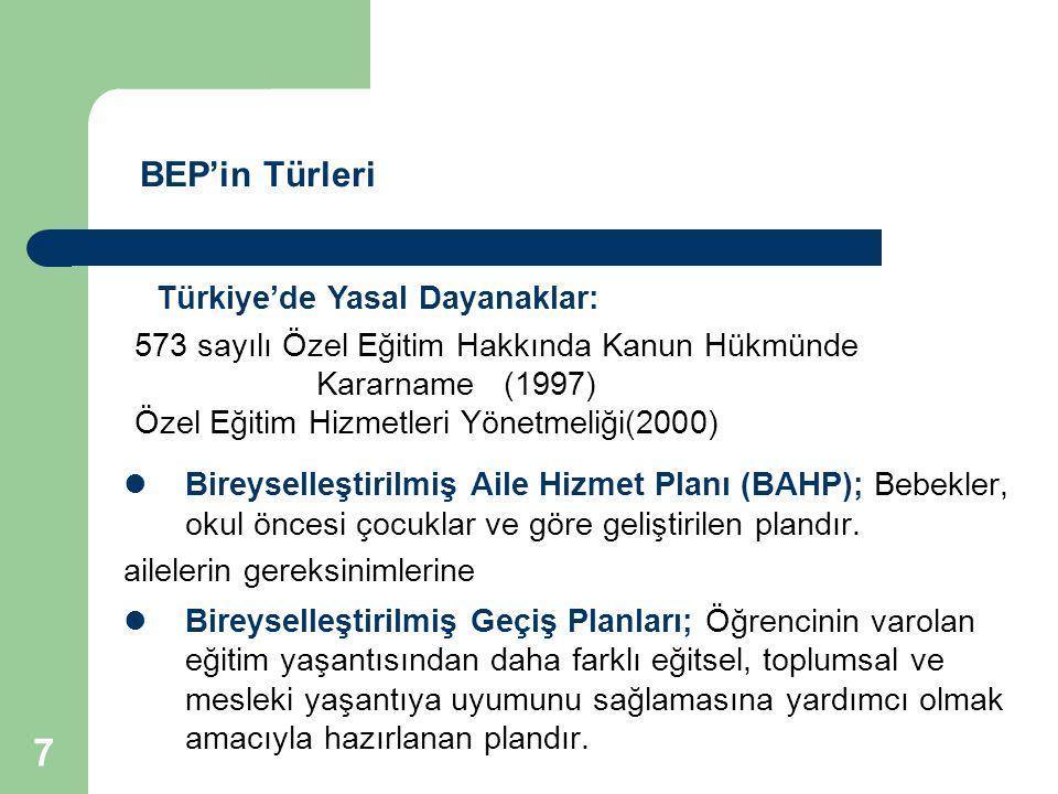 68 Türkiye'de Özel Gereksinimi Olan Bireyler İçin Mesleki Yasal Düzenlemeler ve Eğitim Ortamları 573 Sayılı KHK : Özel eğitim gerektiren bireylere iş ve mesleğe hazırlamak, temel yaşam becerilerini geliştirmek için özel eğitim kurumlarının açılabileceğini belirtmektedir.
