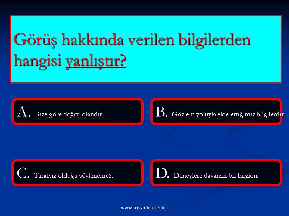 www.sosyalbilgiler.biz I.Türk tarihini araştırmak II.Türk dilini geliştirmek III.Anadolu'nun Türk vatanı olduğunu kanıtlamak Yukarıdaki bilgilerden hangisi Türk Tarih Kurumunun acılış amaçlarındandır.