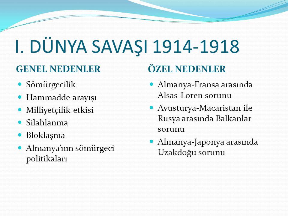 I. DÜNYA SAVAŞI 1914-1918 GENEL NEDENLER ÖZEL NEDENLER Sömürgecilik Hammadde arayışı Milliyetçilik etkisi Silahlanma Bloklaşma Almanya'nın sömürgeci p