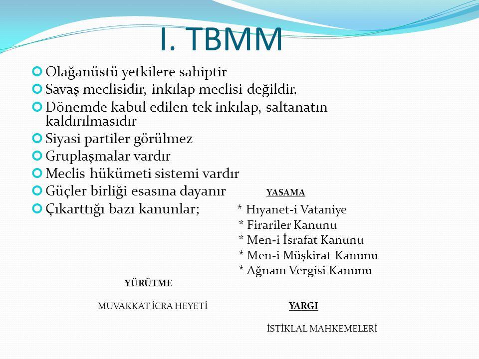 I. TBMM Olağanüstü yetkilere sahiptir Savaş meclisidir, inkılap meclisi değildir. Dönemde kabul edilen tek inkılap, saltanatın kaldırılmasıdır Siyasi