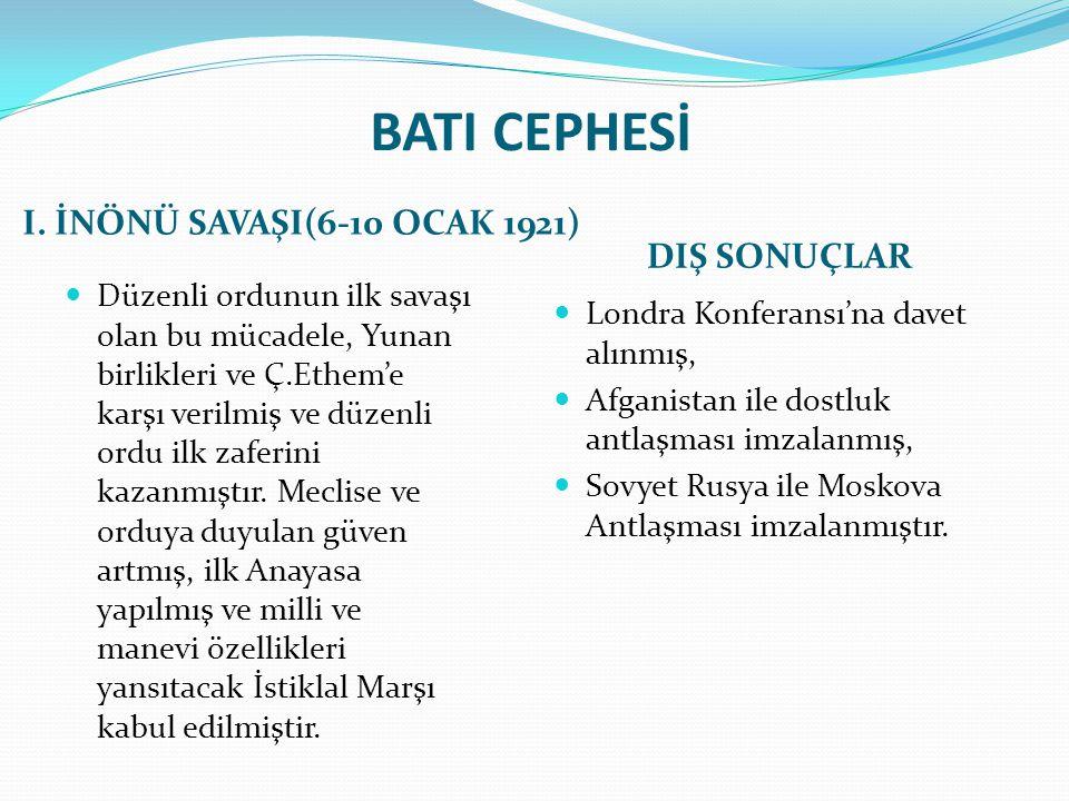 BATI CEPHESİ I. İNÖNÜ SAVAŞI(6-10 OCAK 1921) DIŞ SONUÇLAR Düzenli ordunun ilk savaşı olan bu mücadele, Yunan birlikleri ve Ç.Ethem'e karşı verilmiş ve