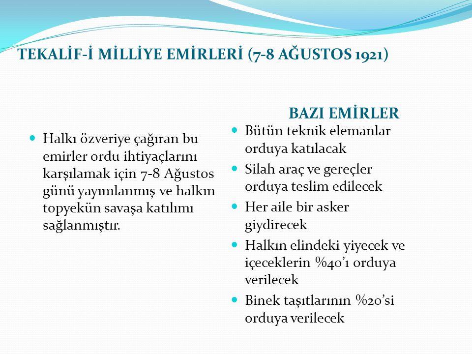 TEKALİF-İ MİLLİYE EMİRLERİ (7-8 AĞUSTOS 1921) BAZI EMİRLER Halkı özveriye çağıran bu emirler ordu ihtiyaçlarını karşılamak için 7-8 Ağustos günü yayım