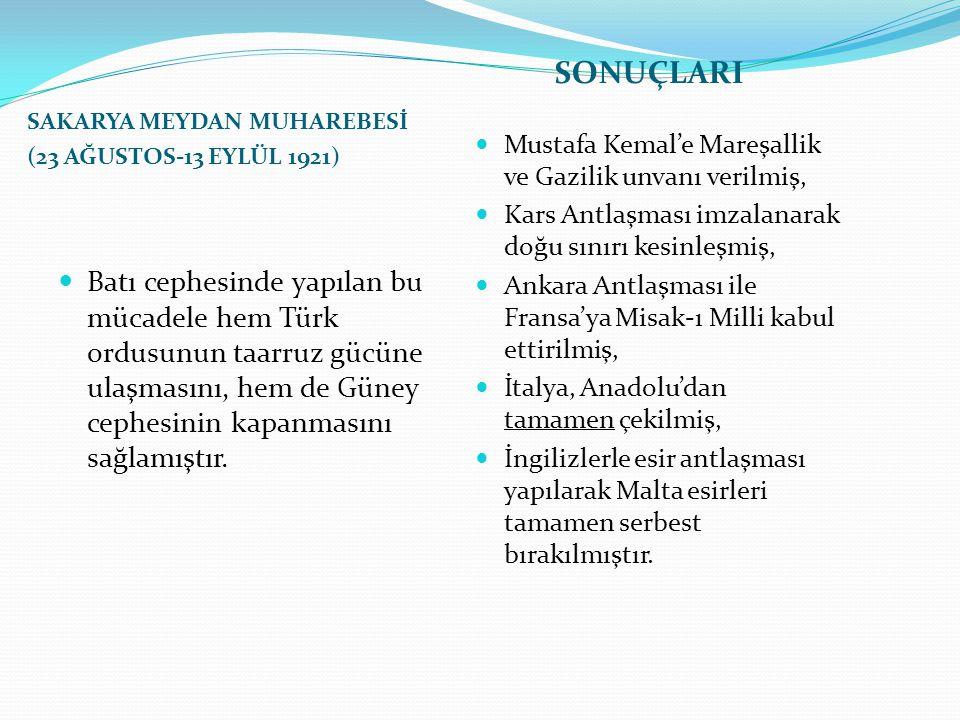SAKARYA MEYDAN MUHAREBESİ (23 AĞUSTOS-13 EYLÜL 1921) SONUÇLARI Batı cephesinde yapılan bu mücadele hem Türk ordusunun taarruz gücüne ulaşmasını, hem d