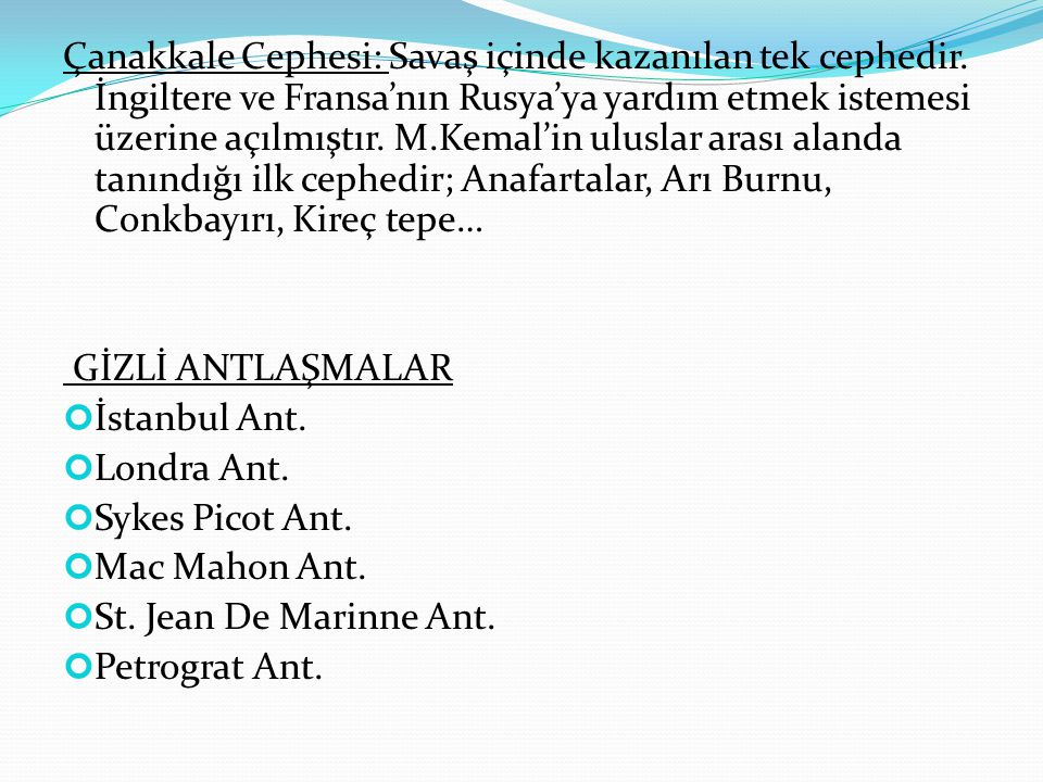 AMASYA PROTOKOLLERİ (22 EKİM) İstanbul Hükümeti ile Heyet-i Temsiliye arasında padişahın otoritesini kısıtlayan bazı hükümler üzerinde anlaşma sağlanmıştır.