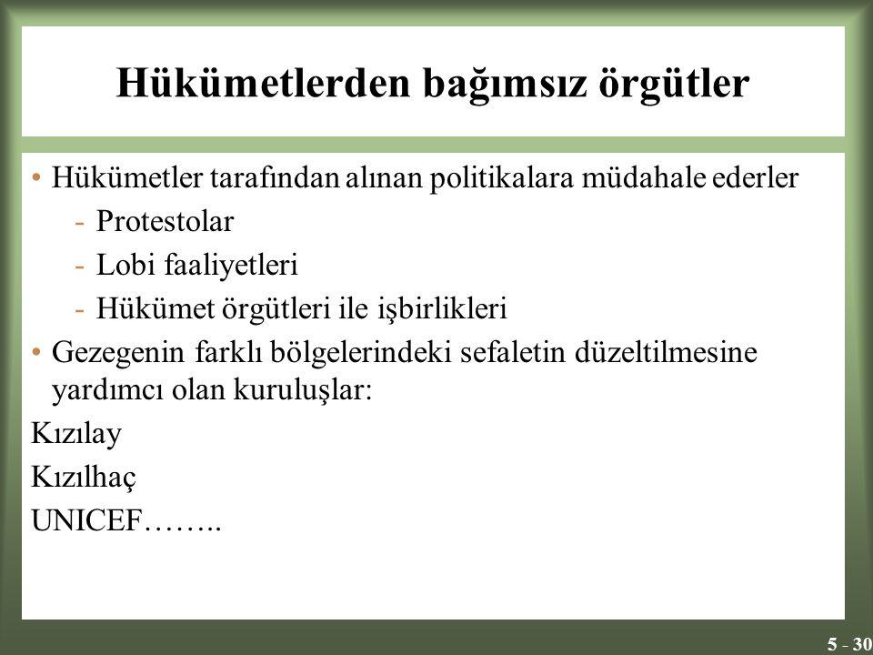 5 - 30 Hükümetlerden bağımsız örgütler Hükümetler tarafından alınan politikalara müdahale ederler -Protestolar -Lobi faaliyetleri -Hükümet örgütleri i