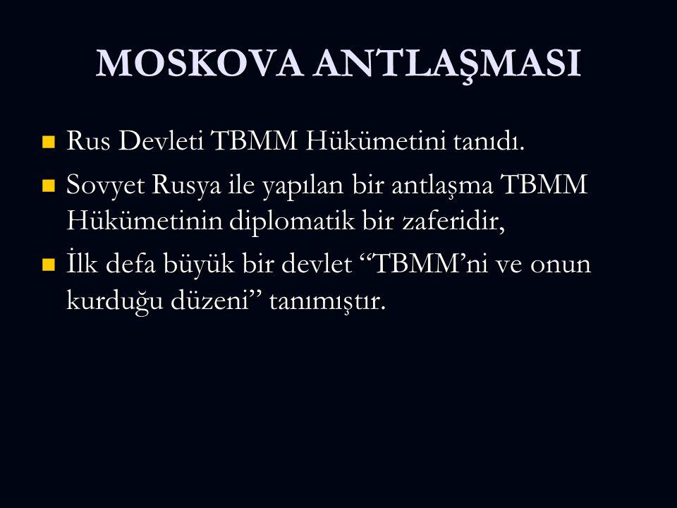MOSKOVA ANTLAŞMASI Rus Devleti TBMM Hükümetini tanıdı. Rus Devleti TBMM Hükümetini tanıdı. Sovyet Rusya ile yapılan bir antlaşma TBMM Hükümetinin dipl