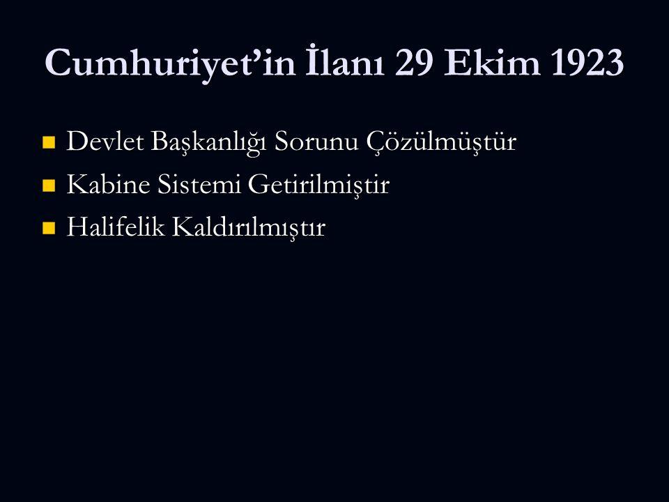 Cumhuriyet'in İlanı 29 Ekim 1923 Devlet Başkanlığı Sorunu Çözülmüştür Devlet Başkanlığı Sorunu Çözülmüştür Kabine Sistemi Getirilmiştir Kabine Sistemi Getirilmiştir Halifelik Kaldırılmıştır Halifelik Kaldırılmıştır
