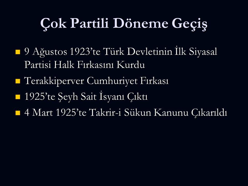Çok Partili Döneme Geçiş 9 Ağustos 1923'te Türk Devletinin İlk Siyasal Partisi Halk Fırkasını Kurdu 9 Ağustos 1923'te Türk Devletinin İlk Siyasal Partisi Halk Fırkasını Kurdu Terakkiperver Cumhuriyet Fırkası Terakkiperver Cumhuriyet Fırkası 1925'te Şeyh Sait İsyanı Çıktı 1925'te Şeyh Sait İsyanı Çıktı 4 Mart 1925'te Takrir-i Sükun Kanunu Çıkarıldı 4 Mart 1925'te Takrir-i Sükun Kanunu Çıkarıldı