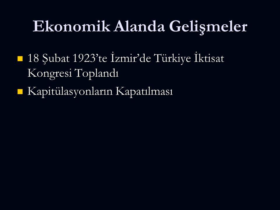 Ekonomik Alanda Gelişmeler 18 Şubat 1923'te İzmir'de Türkiye İktisat Kongresi Toplandı 18 Şubat 1923'te İzmir'de Türkiye İktisat Kongresi Toplandı Kapitülasyonların Kapatılması Kapitülasyonların Kapatılması