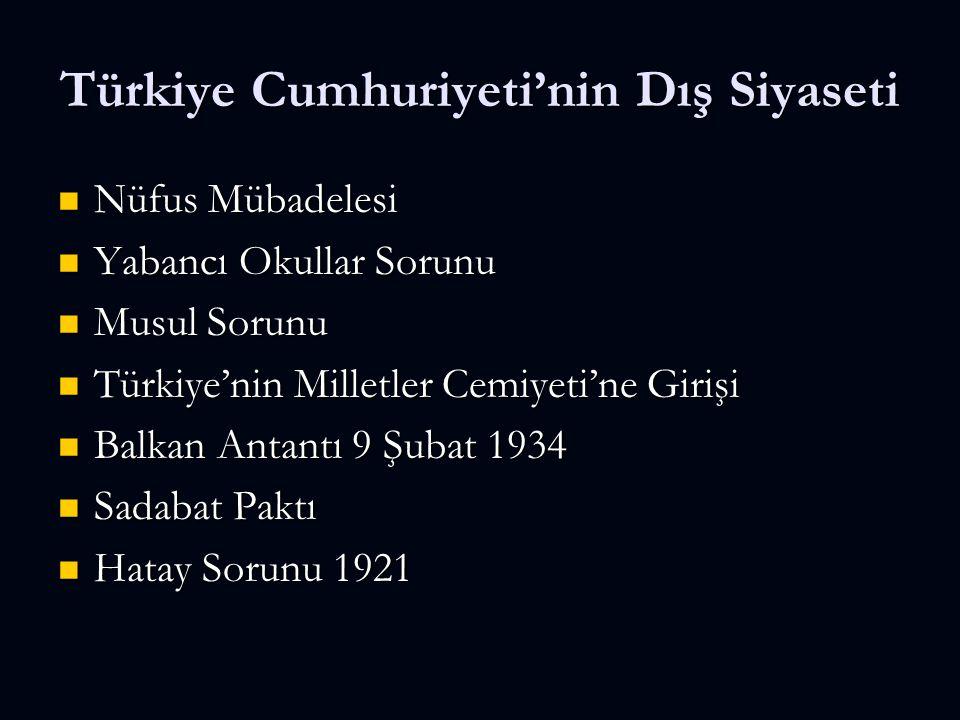 Türkiye Cumhuriyeti'nin Dış Siyaseti Nüfus Mübadelesi Nüfus Mübadelesi Yabancı Okullar Sorunu Yabancı Okullar Sorunu Musul Sorunu Musul Sorunu Türkiye'nin Milletler Cemiyeti'ne Girişi Türkiye'nin Milletler Cemiyeti'ne Girişi Balkan Antantı 9 Şubat 1934 Balkan Antantı 9 Şubat 1934 Sadabat Paktı Sadabat Paktı Hatay Sorunu 1921 Hatay Sorunu 1921