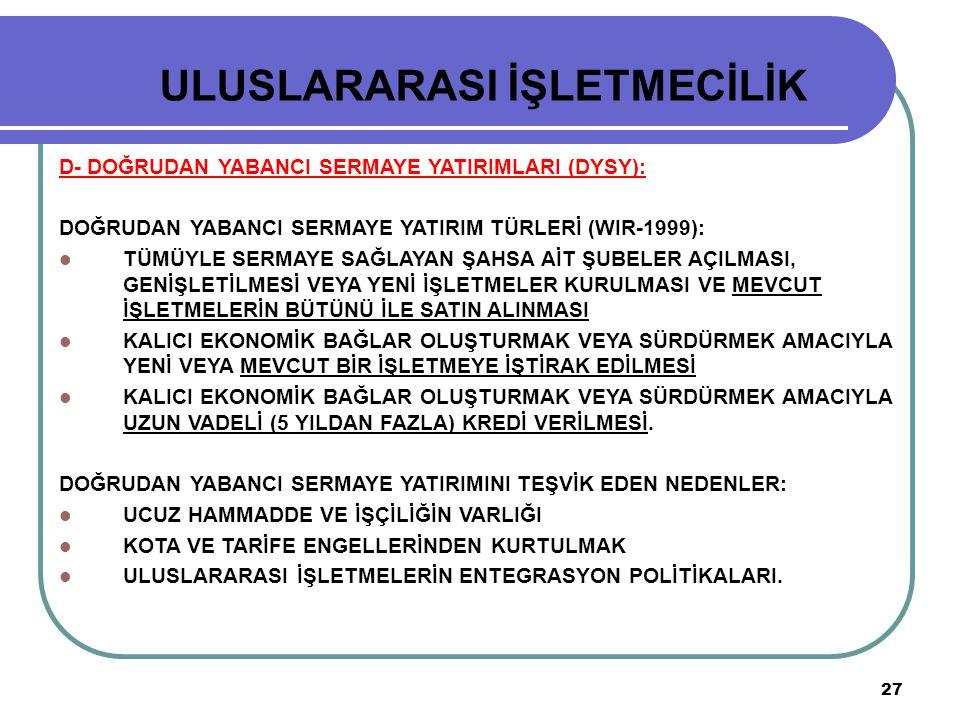 27 ULUSLARARASI İŞLETMECİLİK D- DOĞRUDAN YABANCI SERMAYE YATIRIMLARI (DYSY): DOĞRUDAN YABANCI SERMAYE YATIRIM TÜRLERİ (WIR-1999): TÜMÜYLE SERMAYE SAĞL