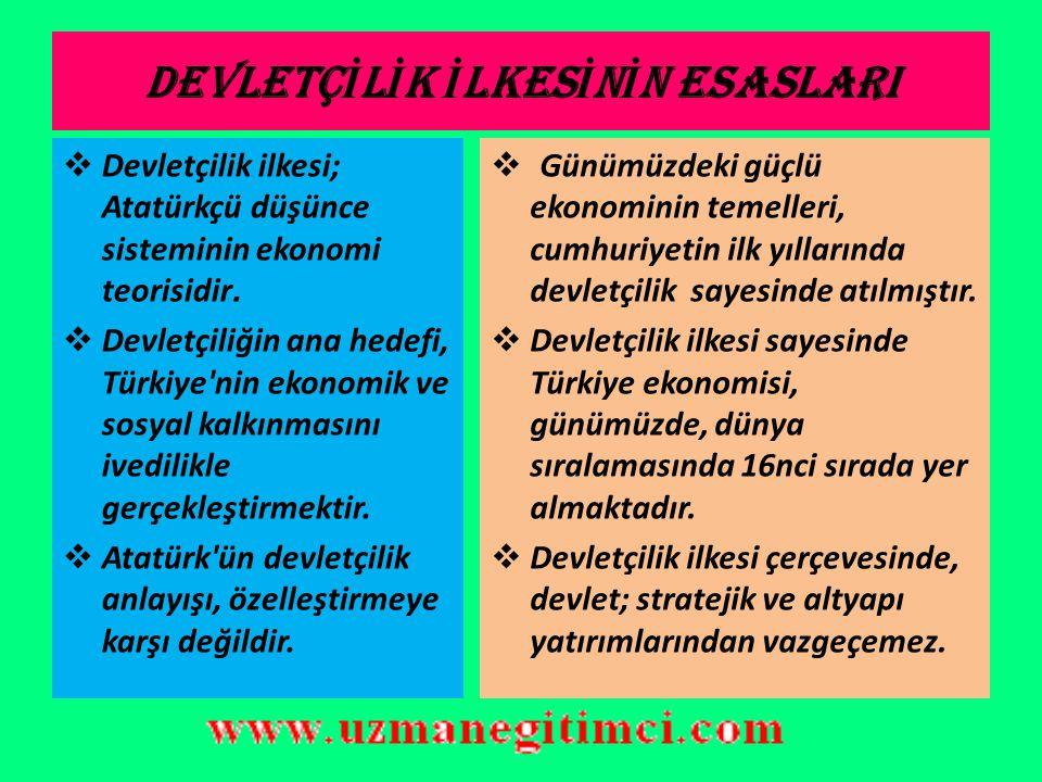 5-) DEVLETÇ İ L İ K  Tanımı : Türk toplumunun ve devletinin ekonomik ve sosyal kalkınmasını gerçekleştirmek için devlet işletmeciliği ile özel sektör işletmeciliğinin birlikte ve uyum içinde çalışmasıdır.