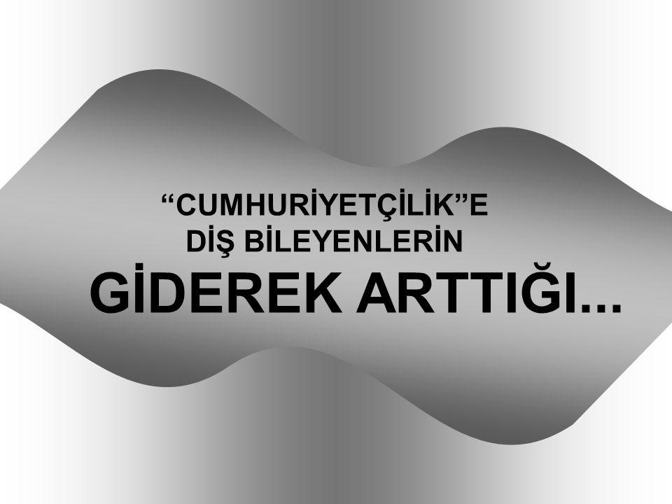 """""""CUMHURİYETÇİLİK""""E DİŞ BİLEYENLERİN GİDEREK ARTTIĞI..."""