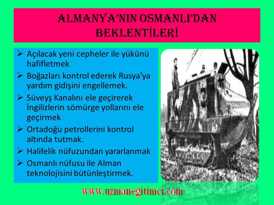 OSMANLI'NIN ALMANYA'YI TERC İ H NEDENLER İ 1)Kaybedilen toprakları geri alma düşüncesi 2)Turan idealini gerçekleştirme düşüncesi 3)Almanya'nın savaşı