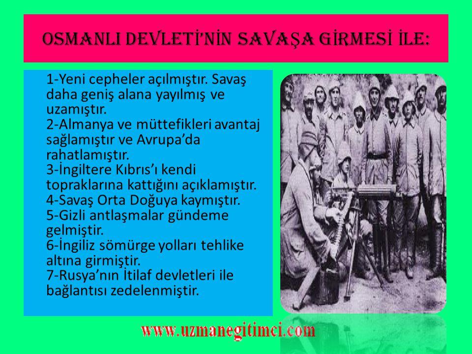 OSMANLI'NIN SAVA Ş A G İ RMES İ  Bu anlaşma sonrası Karadeniz'e açılan Goben ve Breslaw Rusların Karadeniz sahillerini bombalamıştır. (29 Ekim 1914)