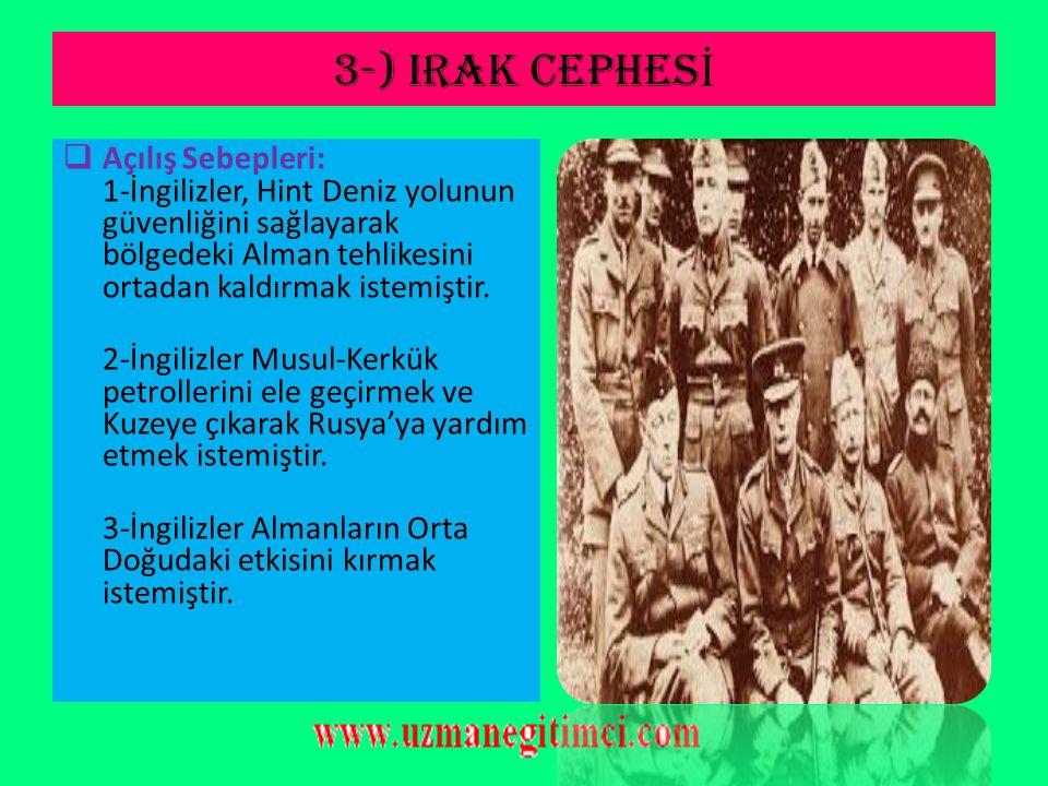 2-)KANAL CEPHES İ (14 Ocak 1915)  Kanal Cephesinin Özellikleri: 1-Osmanlı'nın ikinci taarruz cephesidir. 2-Osmanlı'nın ilk kapanan cephesidir. 3-Türk