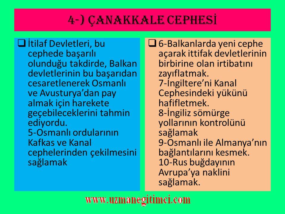 4-) ÇANAKKALE CEPHES İ 4-Balkan uluslarını savaşın içine çekmek  İtilaf Devletlerinin Balkanları Savaşa Sokma Nedenleri: a-Osmanlı ile Almanya'nın ka