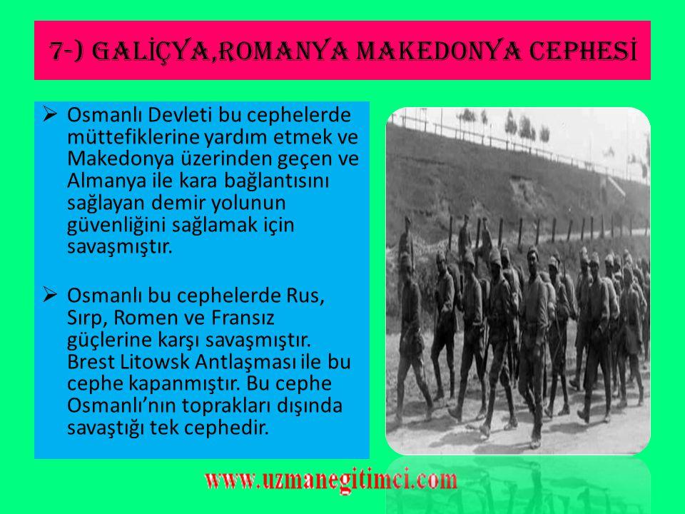 6-) F İ L İ ST İ N-SUR İ YE CEPHES İ  Cephenin Özellikleri: 1-I.Dünya savaşı esnasında Mustafa Kemal'in savaştığı son cephedir. 2-Bu cephede savaşlar