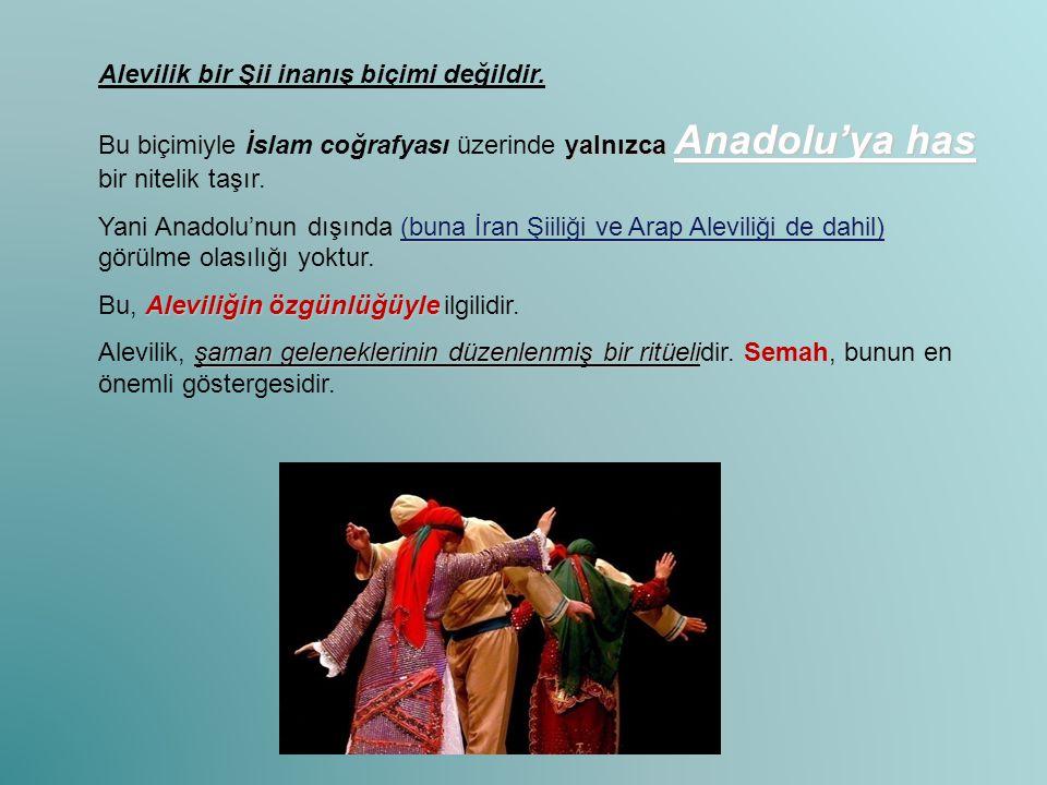 Alevilik bir Şii inanış biçimi değildir. yalnızca Anadolu'ya has Bu biçimiyle İslam coğrafyası üzerinde yalnızca Anadolu'ya has bir nitelik taşır. (bu