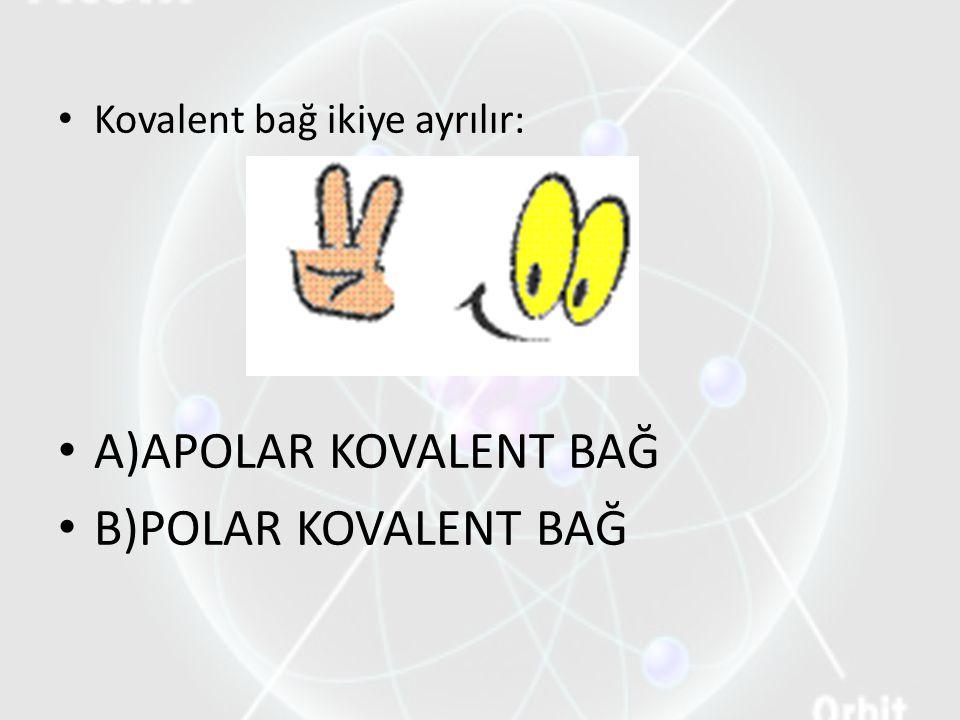 Kovalent bağ ikiye ayrılır: A)APOLAR KOVALENT BAĞ B)POLAR KOVALENT BAĞ