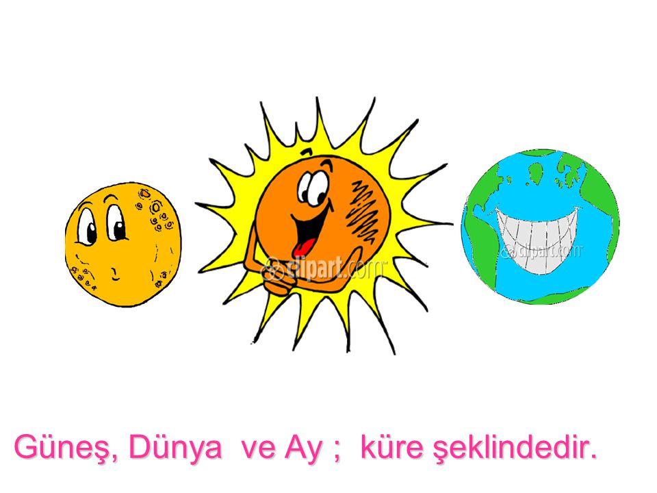 Güneş, Dünya ve Ay ; küre şeklindedir.