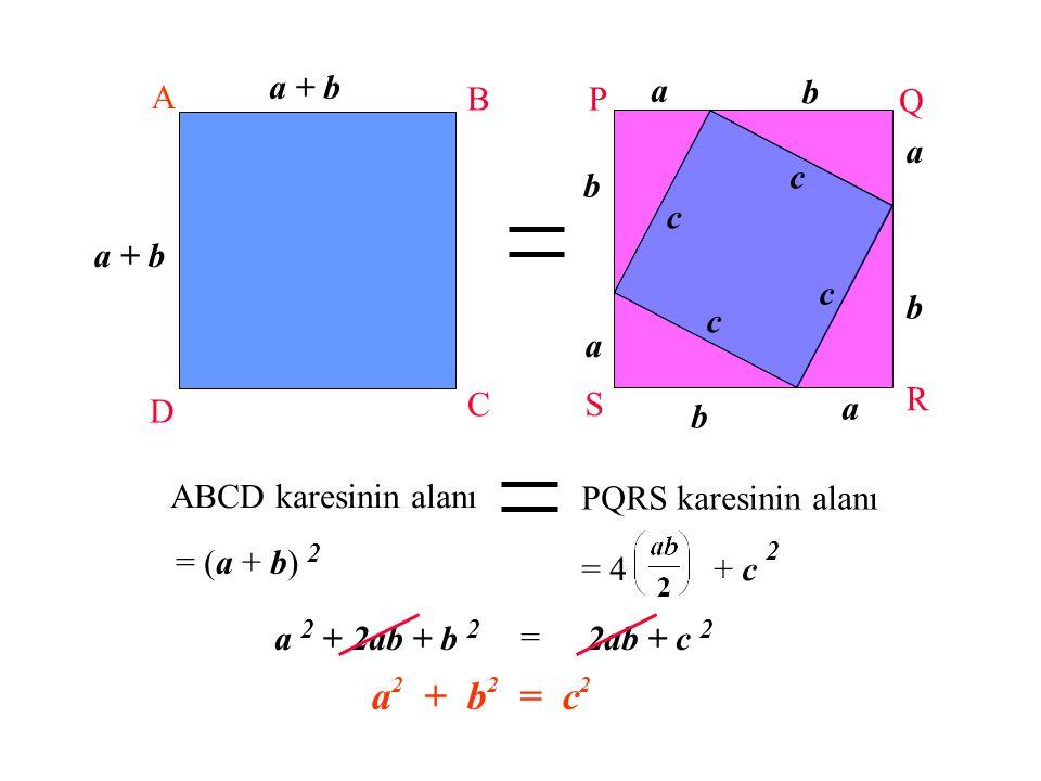 """PQRS'in bir kenarı """"a+b"""" olan bir kare olduğunu düşünelim a a a a b b b b c c c c Şimdi karemiz - 4 eş dik üçgen ve - 1 kendinden daha küçük olan ve k"""