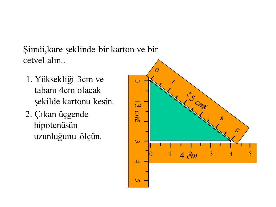 16 km 12 km A B C Çözüm : Şekilden, AB = 16 BC = 12 AC 2 = AB 2 + BC 2 ( Pisagor Teoremi ) AC 2 = 16 2 + 12 2 AC 2 = 400 AC = 20 Arabanın başlangıç noktasından varış noktasına olan uzaklığı 20 km bulunur.