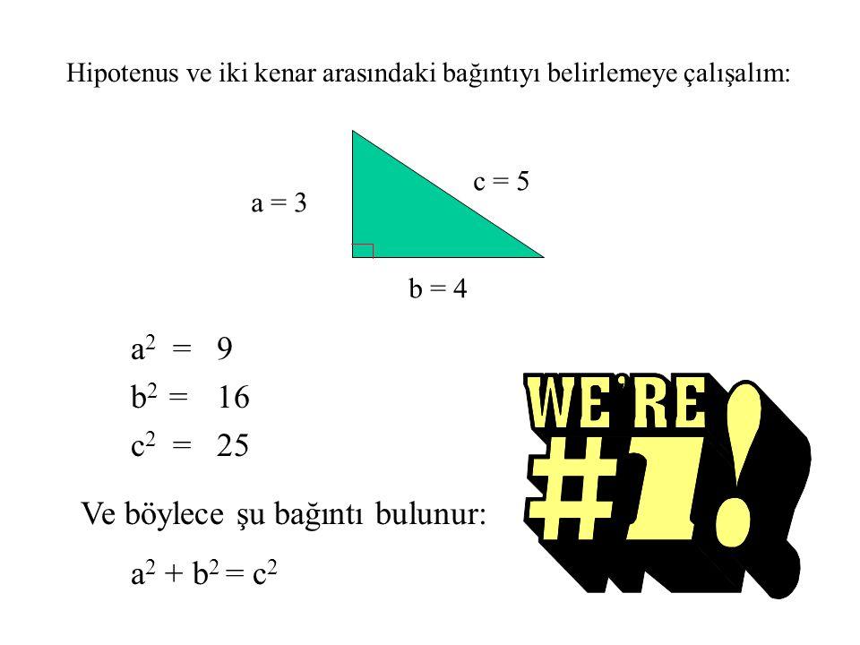 a 2 = b 2 = c 2 = 9 16 25 Ve böylece şu bağıntı bulunur: a 2 + b 2 = c 2 c = 5 a = 3 b = 4 Hipotenus ve iki kenar arasındaki bağıntıyı belirlemeye çalışalım: