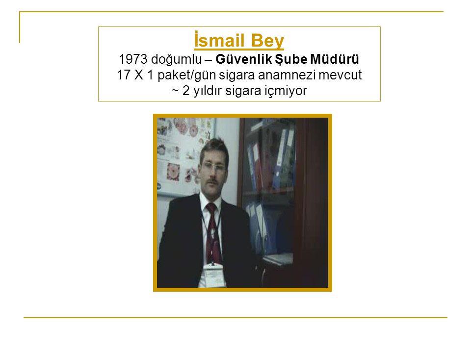 İsmail Bey 1973 doğumlu – Güvenlik Şube Müdürü 17 X 1 paket/gün sigara anamnezi mevcut ~ 2 yıldır sigara içmiyor