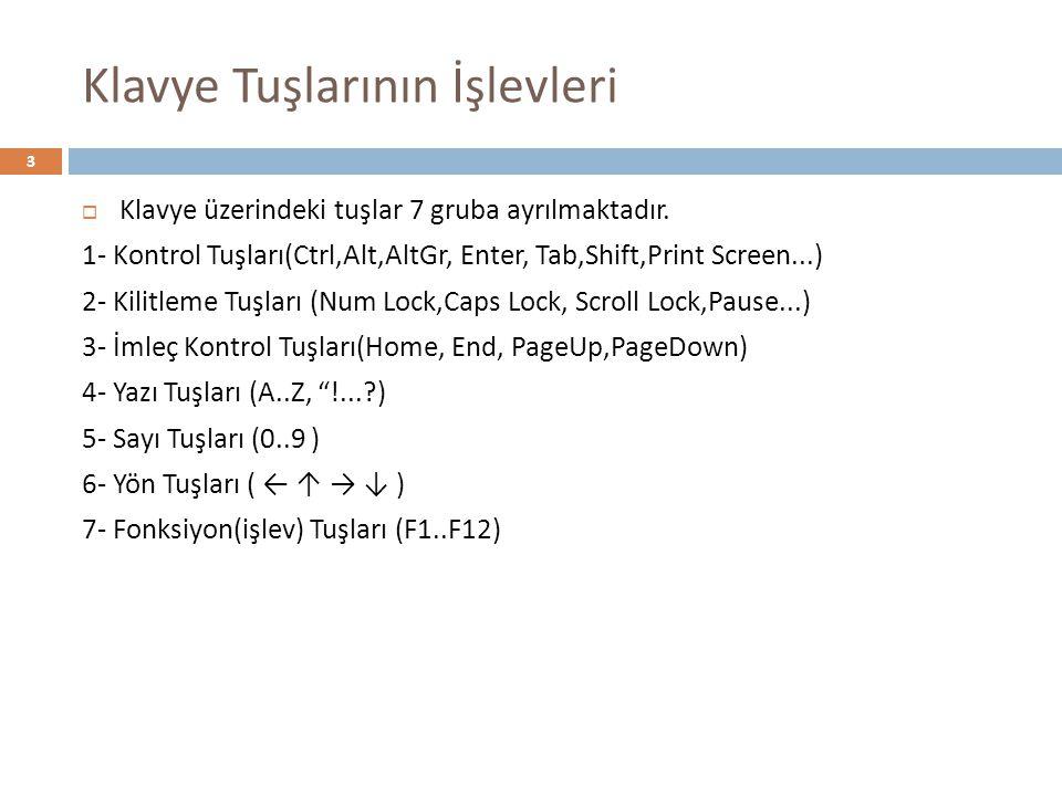  Klavye üzerindeki tuşlar 7 gruba ayrılmaktadır. 1- Kontrol Tuşları(Ctrl,Alt,AltGr, Enter, Tab,Shift,Print Screen...) 2- Kilitleme Tuşları (Num Lock,