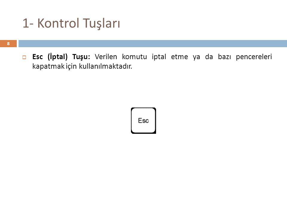 1- Kontrol Tuşları  Esc (İptal) Tuşu: Verilen komutu iptal etme ya da bazı pencereleri kapatmak için kullanılmaktadır. 8